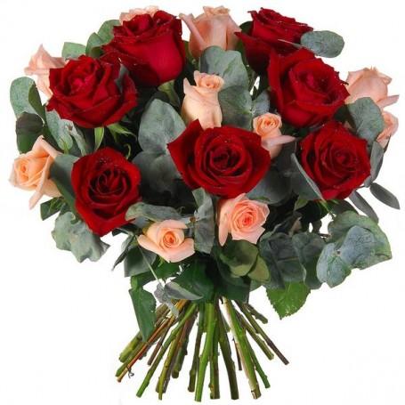 """Bouquet """"Délicatesse Amoureuse"""" • Roses rouges et roses"""