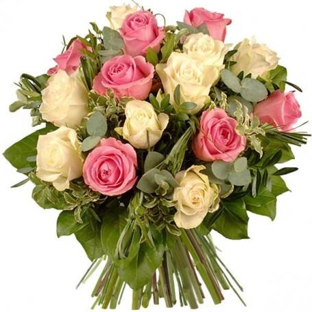 """Bouquet """"Délicatesse"""" • Rose et blanc"""