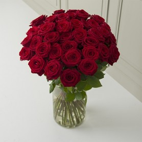 """Bouquet """"À la folie"""" • Roses rouges intense"""