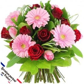 """Bouquet """"Emerveillée"""" • Rose et Rouge"""