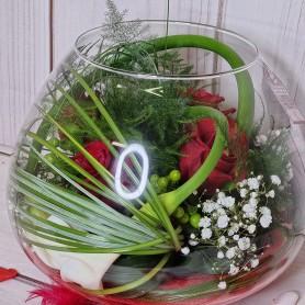Le Vase Boule garni de Fleurs